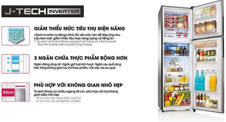 Tủ Lạnh Sharp Inverter 342 Lít SJ-X346E-SL 5