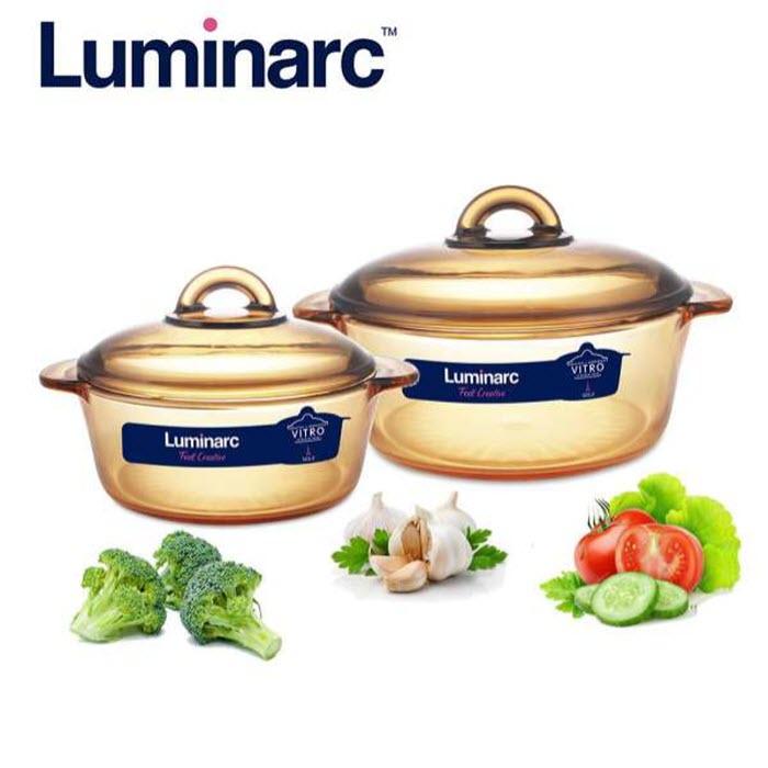 Bộ 2 Nồi Thủy Tinh Luminarc Vitro Amberline Granite 1.5l - 3l -