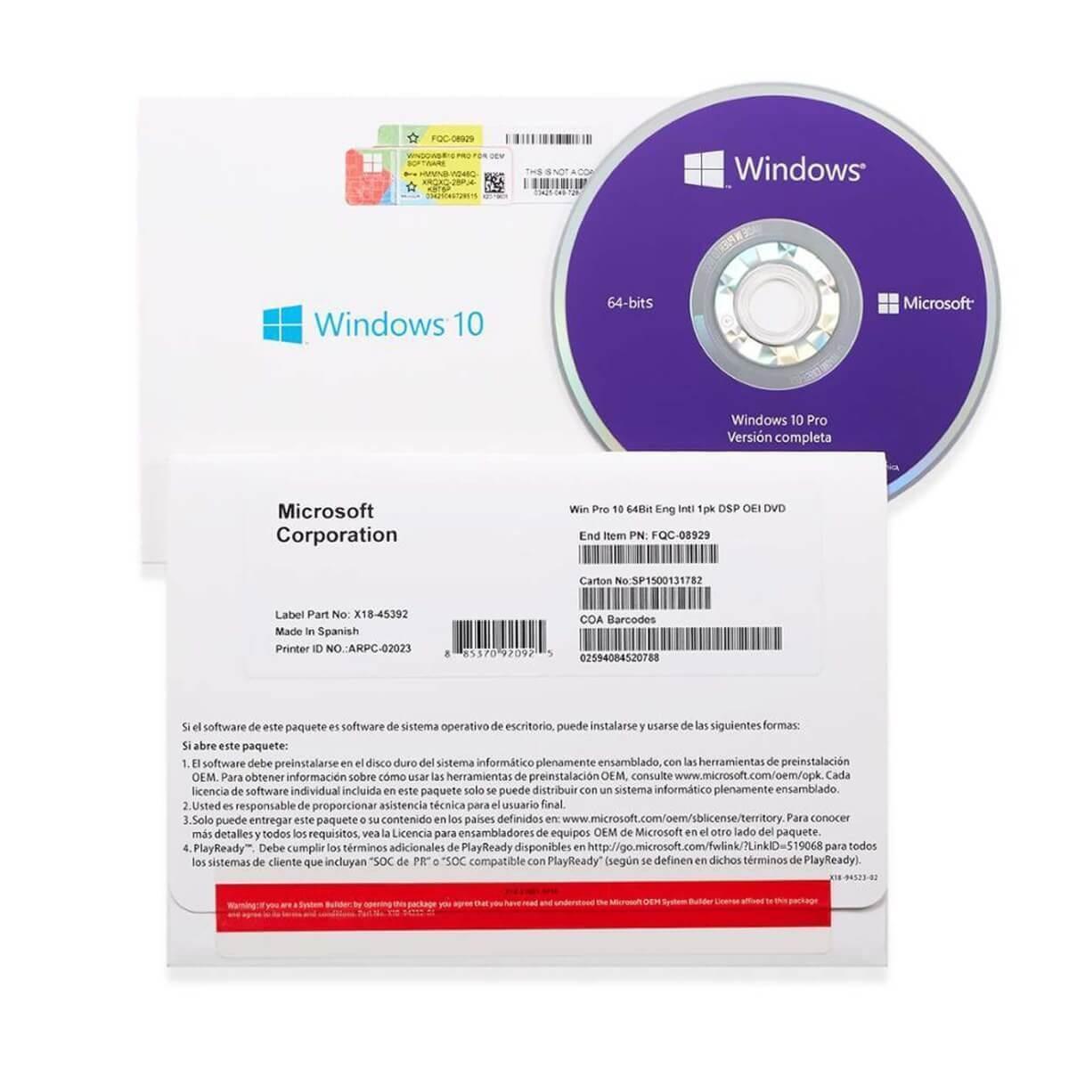 Phần mềm Windows 10 Pro 64bit 1pk DSP OEI DVD (FQC-08929)