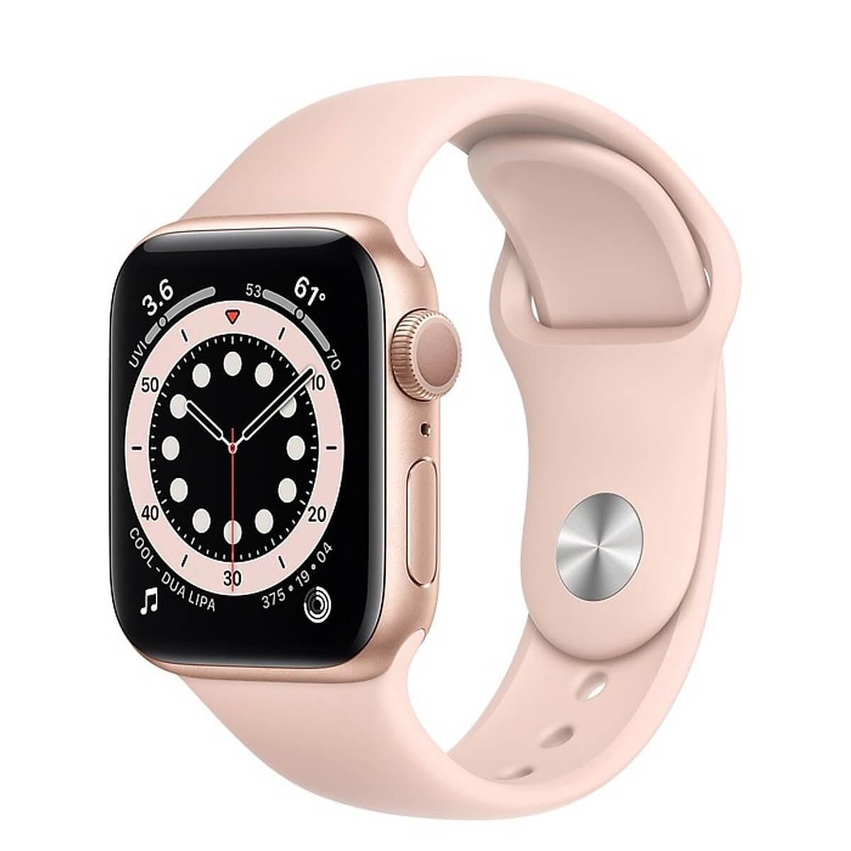 Đồng Hồ Thông Minh Apple Watch Series 6 GPS Only Aluminum Case With Sport Band (Viền Nhôm & Dây Cao Su) 40mm - Hàng Chính Hãng