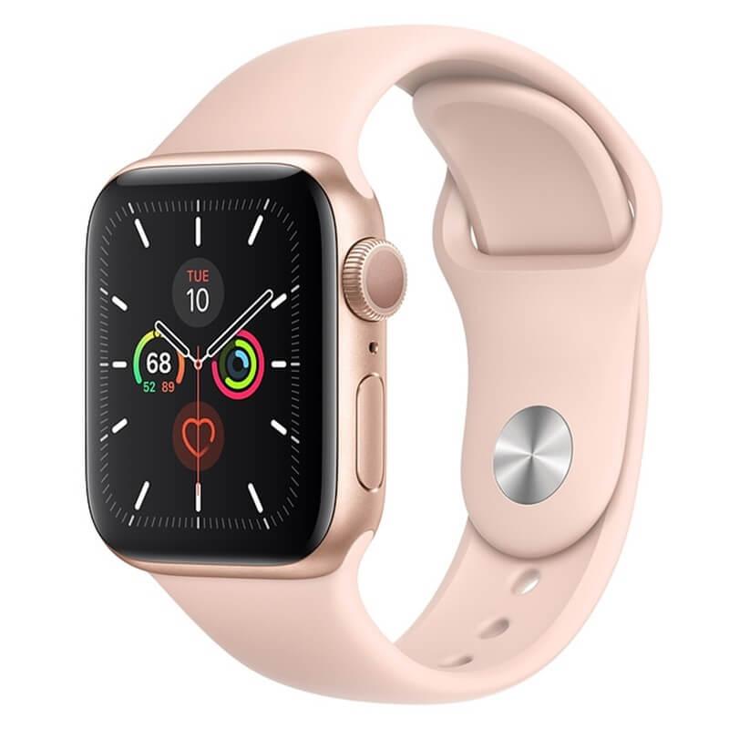 Đồng Hồ Thông Minh Apple Watch Series 5 LTE GPS + Cellular Aluminum Case With Sport Band (Viền Nhôm & Dây Cao Su) 40mm - Hàng Chính Hãng